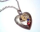 Steampunk Antique Watch Parts Heart Locket Swarovski Crystals