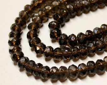 """CLEARANCE - SMOKY QUARTZ - Faceted Rondelles - 7X4mm - Dark - 8"""" Strand - Ref 688"""