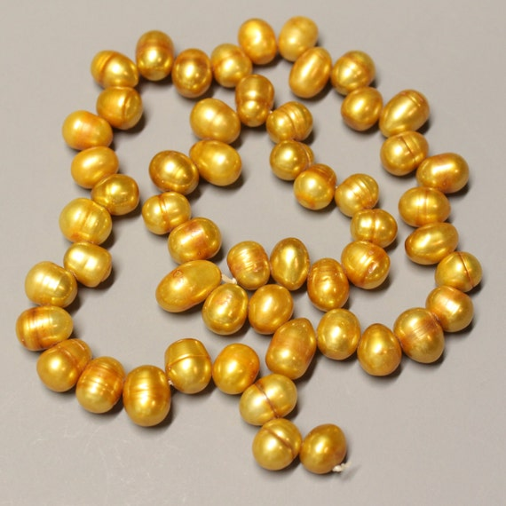 "CLEARANCE - Sale - FRESHWATER Pearls - Genuine - 8-10mm - Top Side DRILLED - Rice - 16"" strand - Rusted Gold - Ref gs 98"