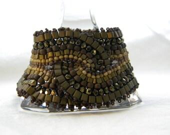 Mocha ... beadwoven bracelet intertwined cuff beige dark walnut brown natural earthtones exotic goddess queen gold cinnamon chunky wide