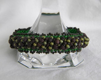 Goblin ... beaded bracelet beadwoven peyote bangle olive moss kelly green mint chip chocolate brown woodsy