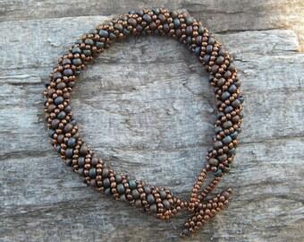 Russian Spiral ... beadwoven bracelet copper blue purple bronze multiple layers layering enchanting fairy queen mix match elegant classy