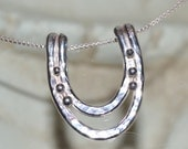 "Sterling Silver horseshoe pendant necklace.  Contemporary handmade silver.  ""Equinox"""