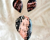 ocean jasper cabochon set.  Green and pink orbs for Pendant and earrings.