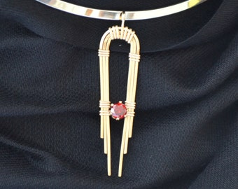 Art Deco wire wrapped Pendant 14K Gold filled with ruby red CZ.