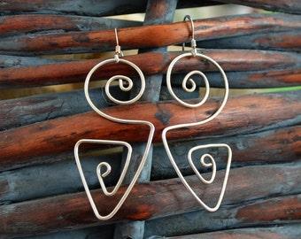 Sterling Silver wire earrings.  wear 2 ways