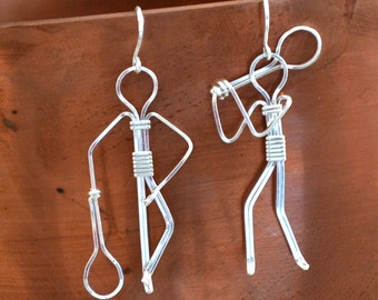 "Tennis player earrings in Sterling Silver  Hand made.  Choose your style.  ""Grand Slam"""