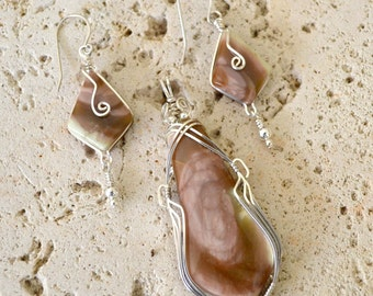 "Imperial jasper pendant and earrings set.  Pink stone. Sterling silver wire wrapped. ""Pink passion"""