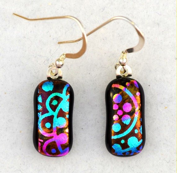 dichroic fused glass earrings.blue green pink on black. Sterling ear wires  SALE 20% off