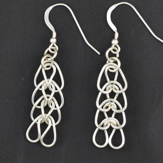 Sterling Silver heart chain earrings  Fine Silver.  handmade  Woven Hearts
