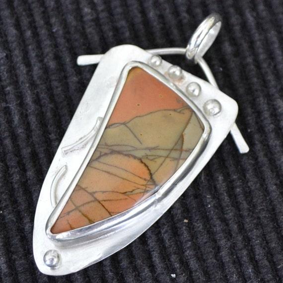 "Cherry Creek jasper pendant.  Sterling silver.  One of a kind. ""desert sunset"""