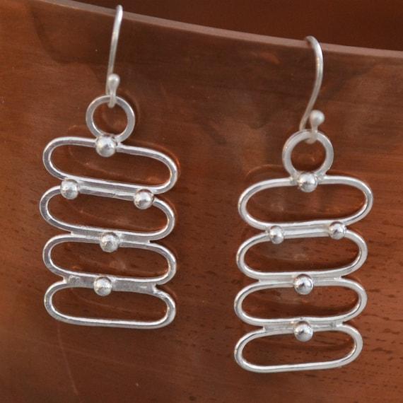 Artisan Sterling Silver earrings.  handforged Modern Minimalist