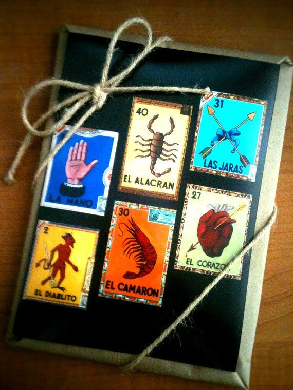 Mexican Lotería Cards - Set of 6 prints from original paintings done on cigar boxes