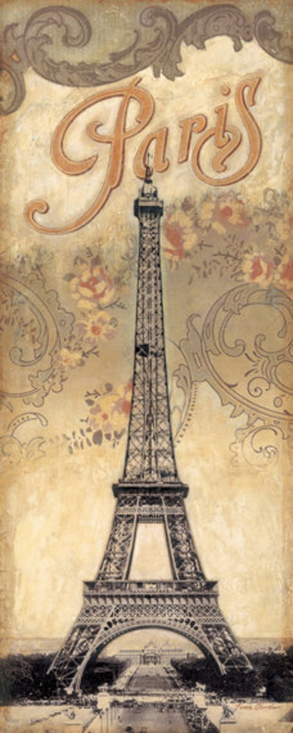 "Paris Destination, Eiffel Tower 12""x 36"""