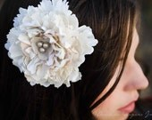 Ellie- bridal hair piece, wedding flower hairclip, ivory, linen, rustic, grey pearl, hand shaped petals, peony, blossom, bride