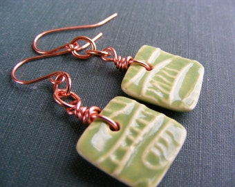 Citrus Breeze Earrings:  Lime Ceramic Tile with Copper Dangle Earrings