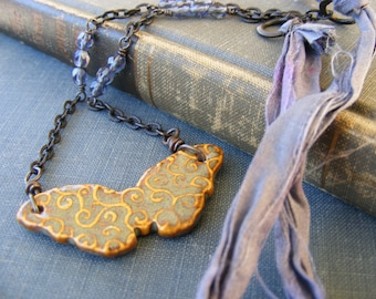 Ceramic Swirly Butterfly Pendant with Periwinkle Sari Silk and Dark Brass:  Always You Necklace
