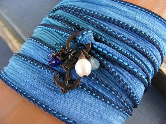 Sailor Blue Silk Ribbon Wrap Bracelet:  Shades of Blue Silk Ribbon with Dark Brass Anchor Charm Pearl and Crystals