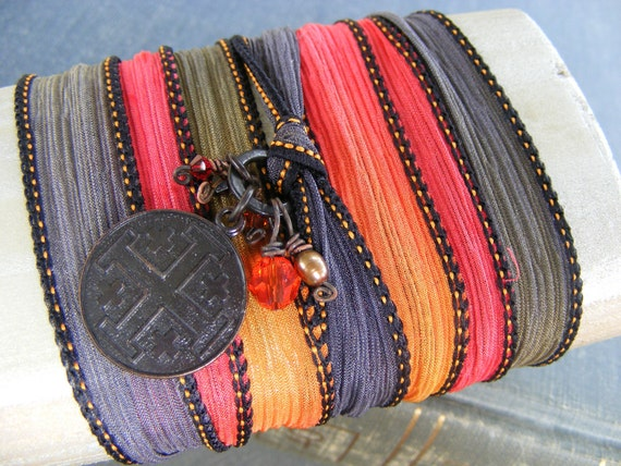 Burning Up Silk Ribbon Wrap Bracelet:  Dark Brass Crusades Cross Charm with Orange Red and Brown Crystals and Freshwater Pearl