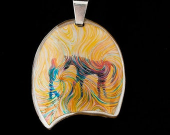 Horse Energy Pendant - A Girl And Her Horse by Julia Watkins - Horse Jewelry