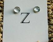 Dot Post Earrings in Steel Grey