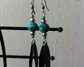 Turquoise stone and leaf earrings