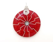 Symbol of Life - FREE SHIPPING Wire Wrapped Pendant Blood Red Cherry Coral Dounut Round Circle Wheel Gemstone Mineral Stone June July Summer