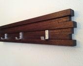 Coat Rack 3 Hook Modern Key Hat Minimalist Wall Hanging w/ 3 Hooks Dark Espresso Finish