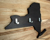 Wall Rack Key Hook Wall Hanging State Shape New York Dark Espresso Finish
