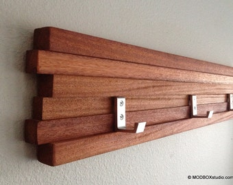 Coat Rack 5 Hook Modern Key Hat Minimalist Wall Hanging w/ 5 Hooks