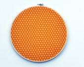 Cork board embroidery hoop riley blake rainy day fabric yellow rain polka dots circle fabric 9 inch round