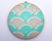 Aqua putty ivory bulletin board snail scallop 12 inch round fabric embroidery hoop