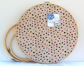Tan pink avacado green grass green geometric bulletin board fabric 12 inch round embroidery hoop