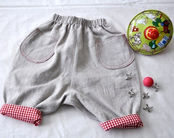 6 month size linen pants lined with red and white gingham