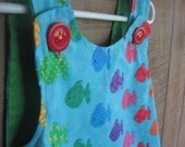 Rainbow Fish Baby Pinafore Dress 6-12 months or Toddler's Top