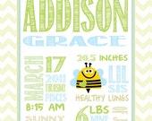 Nursery art - Personalized baby/children - Birth Stats Print Customized, Bee art