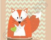 Nursery Woodland prints.  Fox on Chevron background