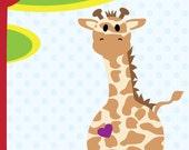 Giraffe modern nursery wall decor - African safari animal series