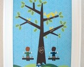 Family tree whimsical nursery art - personalized
