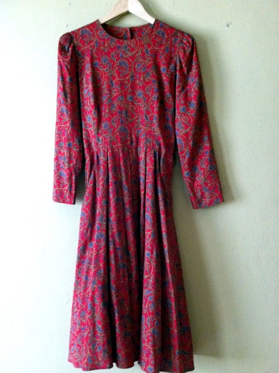 Vintage 3/4 Sleeve Red Paisley Dress with Blue and Gold