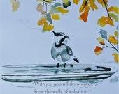 5x7 print of chickadee bird in birdbath watercolor painting with verse steam punk colors