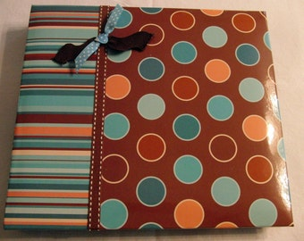 Premade Scrapbook Classic Turquoise and Brown 8x8 Ready made Scrapbook