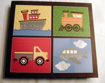 Premade Scrapbook Planes,Trains,Trucks, and Boats Boy 8x8 Ready made Scrapbook