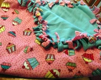 SALE Fleece Blanket - Tasty Cupcake Knot  Fleece Blanket
