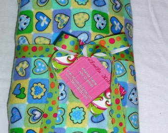 Baby Blanket - Sweet Baby Blue Yellow and Green Receiving Flannel Blanket