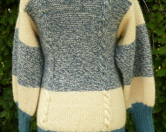 Ugly Sweater Cable Knit,Mohair,Vintage,Circa 1960s,Blue,White,Tunic Style,Kitchy,Winter Wear,Ice Skating,Sking,Ski Lodge,Winter Wardrobe