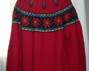 Ugly Christmas Sweater,Wool,Nordic,Womens Size Large,Red Knit,Vintage,Tacky Sweater, OOAK,Retro,Boho,Bohemian,1970,1980,Tunic Style