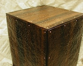 Copper table base hammered riveted patina