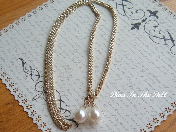 Long Vintage Sarah Coventry Goldtone Chain Style Necklace OR Belt with Teardrop Pearls  Mad Men Style