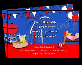 Printable 4th of July - Patriotic Party Invitations -  Personalized - Custom